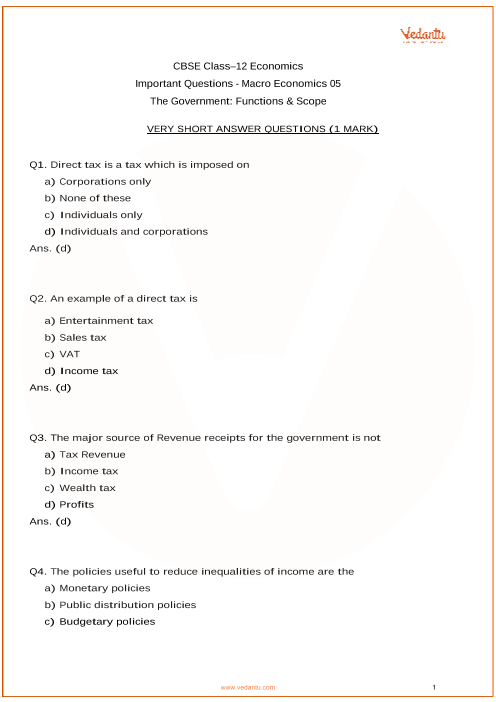 Important Questions for CBSE Class 12 Macro Economics Chapter 5