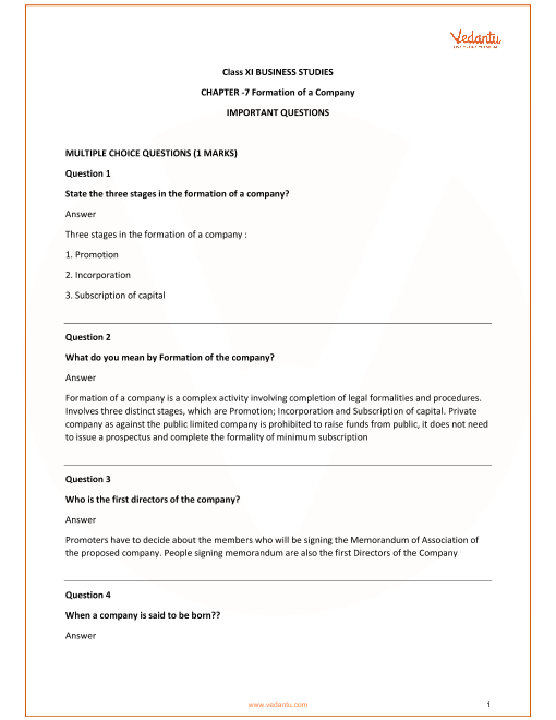 Important Questions for Class 11 Business Studies Chapter 7_Formation of a Company part-1