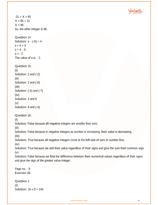 RS Aggarwal Class 7 Solutions Chapter-1 Integers