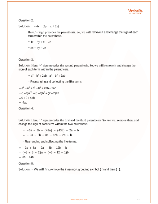 RS Aggarwal Class 6 Solutions Chapter-8 Algebraic Expressions