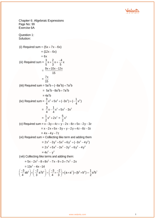 RS Aggarwal Class 7 Solutions Chapter-6 Algebraic Expressions