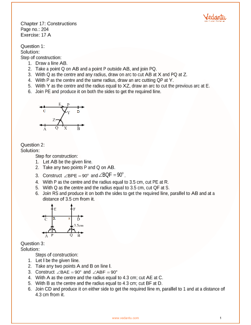 RS Aggarwal Class 7 Solutions Chapter-17 Constructions
