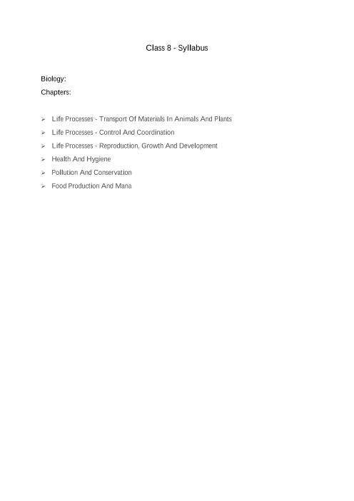 ICSE Class 8_Biology_2018-2019_Syllabus part-1