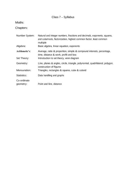 ICSE Class 7_Maths_2018-2019_Syllabus part-1