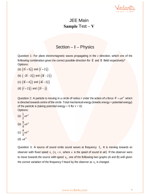 JEE Main Sample Question Paper-5 with Answer Keys - Free PDF