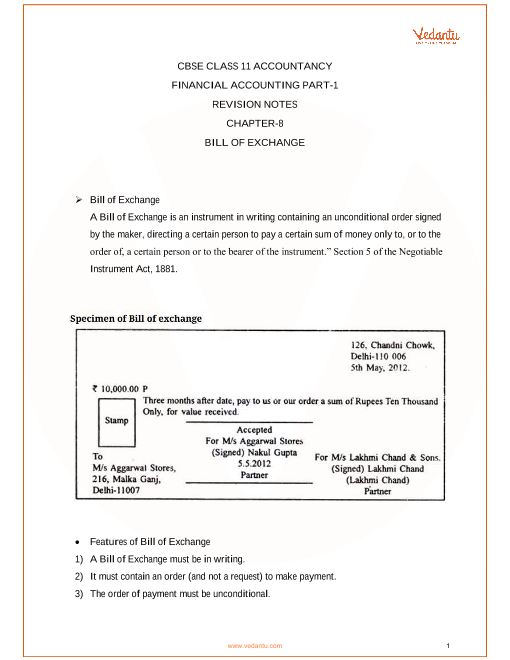 Revision Notes Class 11 Accountancy Chapter-8 part-1