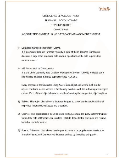 CBSE Class 11 Accountancy Chapter-15 Database Management