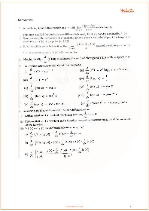 CBSE Class 11 Maths Chapter 13 - Limits and Derivatives Formulas