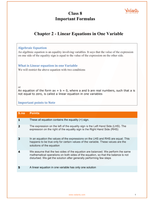 CBSE Class 8 Maths Chapter 2 - Linear Equations in One Variable Formulas