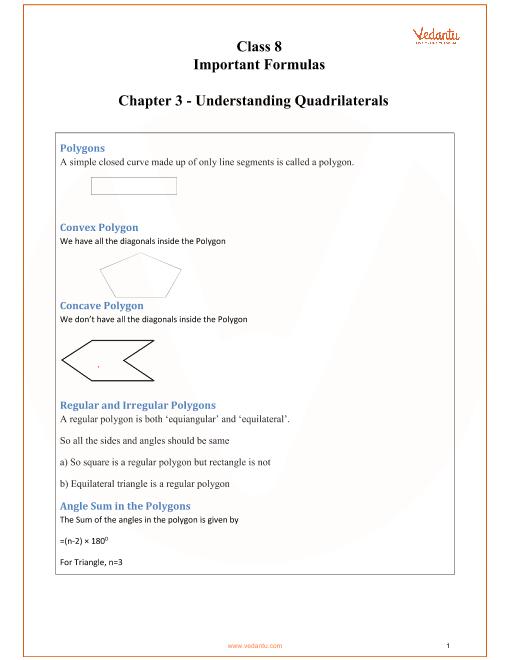 CBSE Class 8 Maths Chapter 3 - Understanding Quadrilaterals