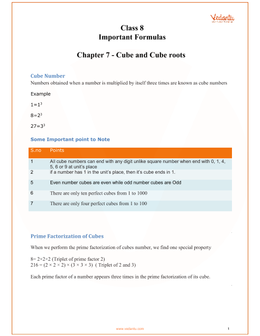 CBSE Class 8 Maths Chapter 7 - Cubes and Cube Roots Formulas