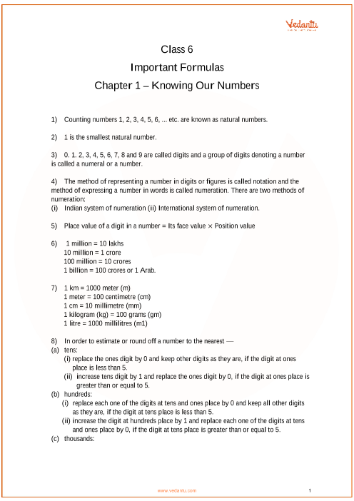 CBSE Class 6 Maths Chapter 1 - Knowing Our Numbers Formulas