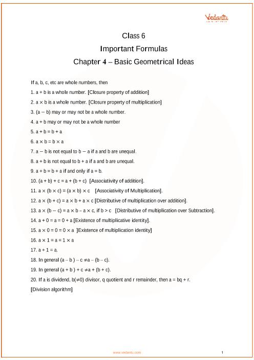 CBSE Class 6 Maths Chapter 4 - Basic Geometrical Ideas Formulas