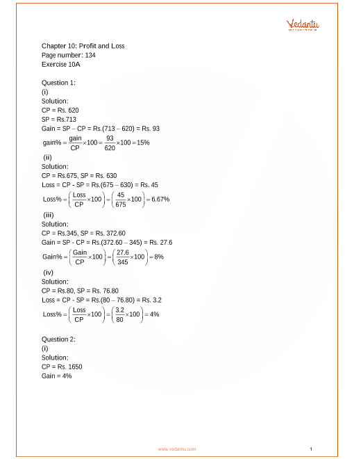 RS Aggarwal Class 8 Mathematics Solutions for Chapter-10
