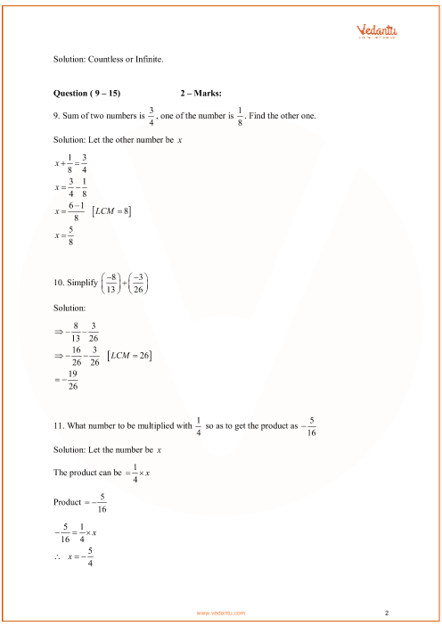 Important Questions For CBSE Class 8 Maths Chapter 1 - Rational Numbers
