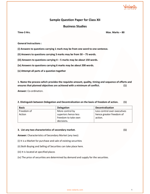 CBSE Sample Paper for Class 12 Business Studies with Solutions
