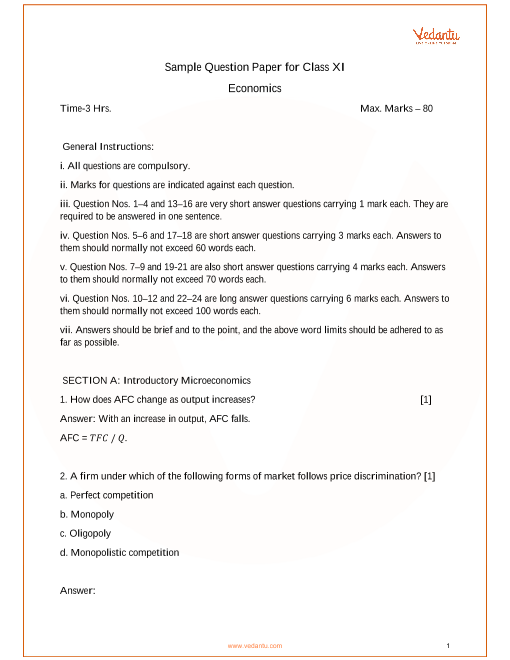 Sample Paper for Class 11 Economics part-1
