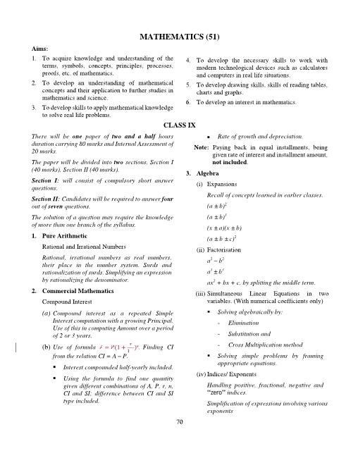 ICSE Class 10 Mathematics Syllabus 2018-2019 Examinations