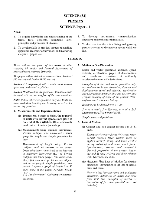 ICSE Class 10 Physics Syllabus 2018-2019 Examinations