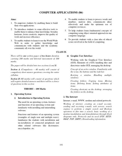 ICSE Class 10 Computer Applications Syllabus 2018-2019