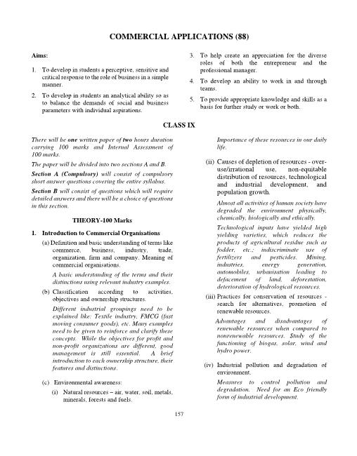 ICSE Class 10 Commercial Applications Syllabus 2018-2019