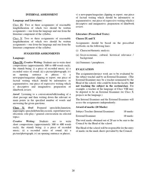 ICSE Class 9 Second Language-Indian Language Syllabus 2018