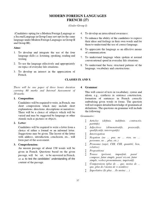 ICSE Class 9 French Syllabus 2018-2019 Examinations