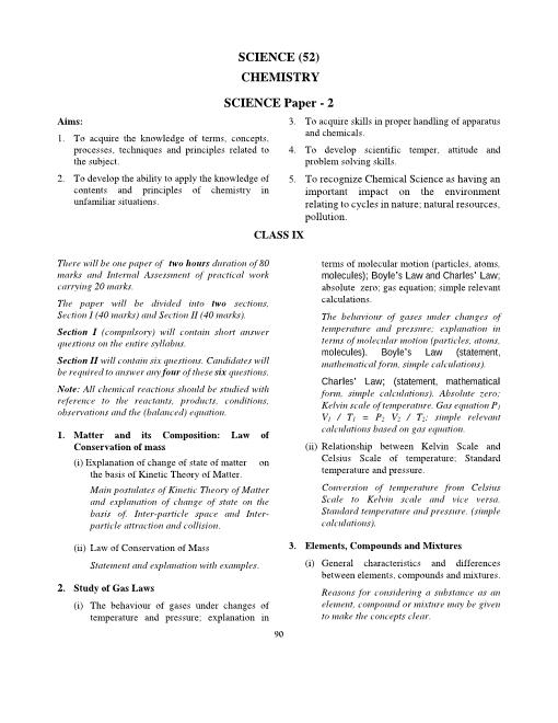 ICSE Class 9 Chemistry Syllabus 2018-2019 Examinations