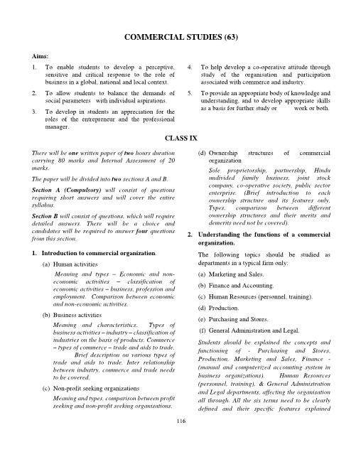 ICSE Class 9 Commercial Studies Syllabus 2018-2019 Examinations