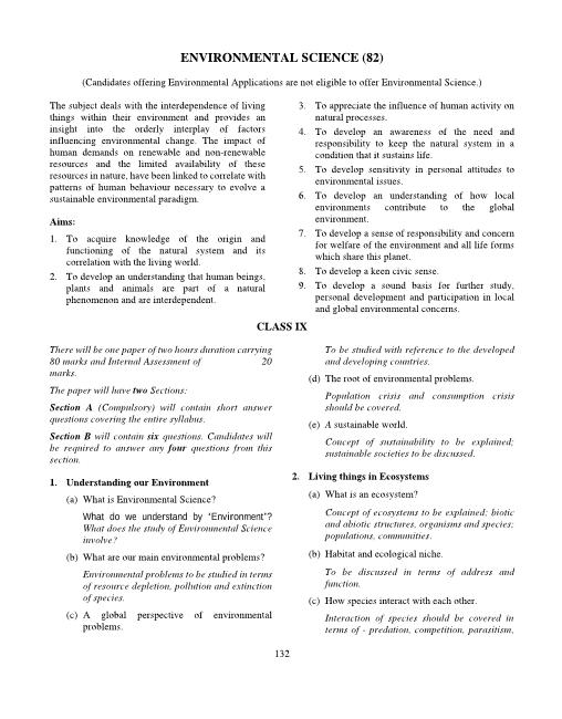 ICSE Class 9 Environmental Science Syllabus 2018-2019 Examinations