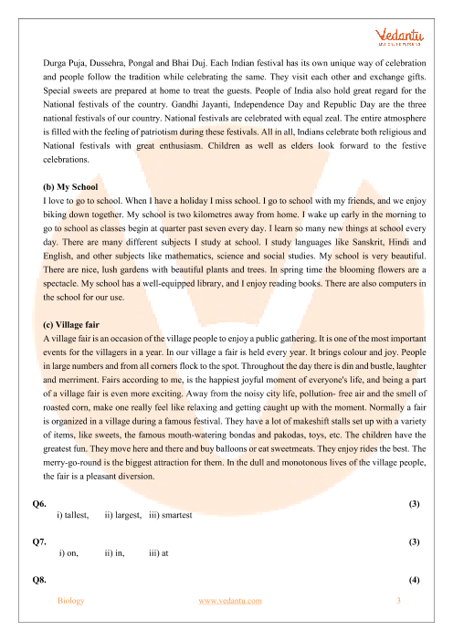 CBSE Sample Paper for Class 6 English with Solutions - Mock