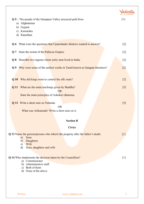 CBSE Sample Paper for Class 6 Social Science with Solutions