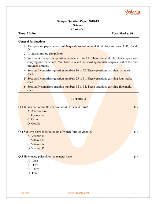 CBSE Sample Paper for Class 6 Science with Solutions - Mock