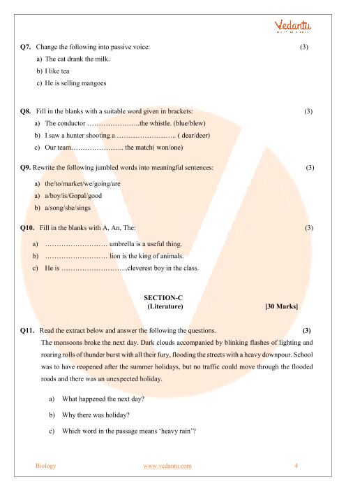 CBSE Sample Paper for Class 7 English with Solutions - Mock