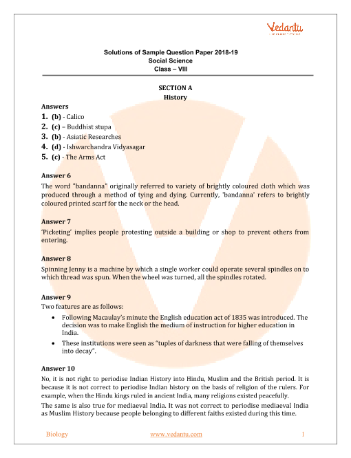 CBSE Sample Paper for Class 8 Social Science with Solutions