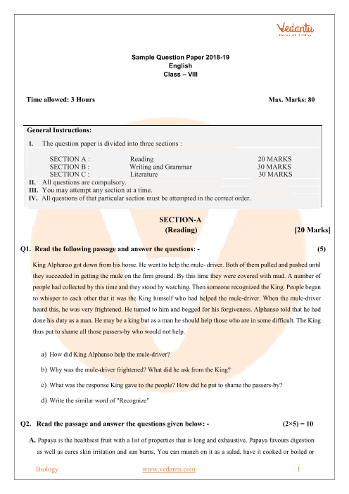 CBSE Sample Paper Class 8th-English part-1