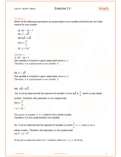 NCERT Solutions for Class 9 Maths Chapter 2 Polynomials (Ex 2 1
