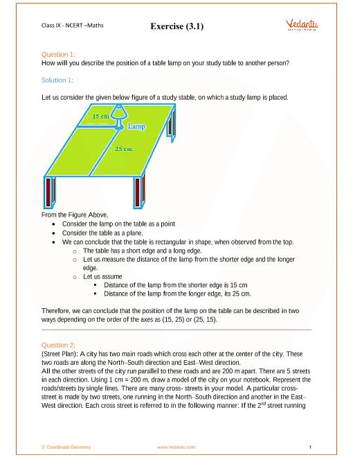NCERT Solutions for Class 9 Maths Chapter 3 Coordinate