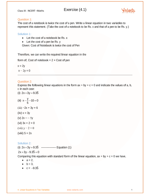 Chapter 4- Linear Equations in Two Variables part-1