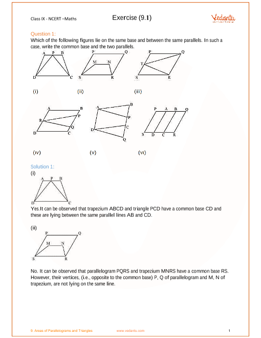 NCERT Solutions for Class 9 Maths Chapter 9 Areas of ...