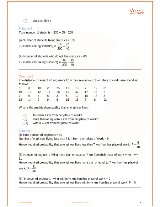 NCERT Solutions for Class 9 Maths Chapter 15 Probability (Ex