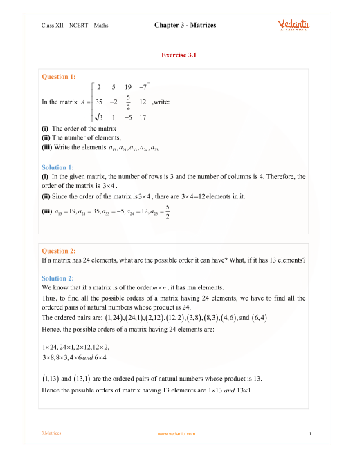 Chapter 3 - Matrices part-1