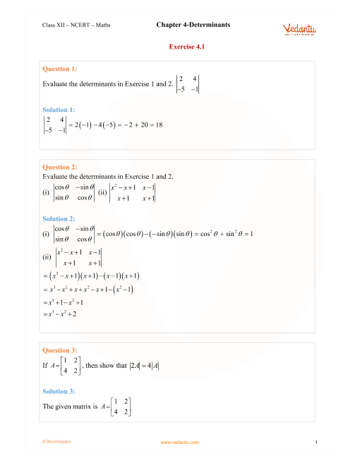 NCERT Solutions for Class 12 Maths Chapter 4 Exercise 4 2