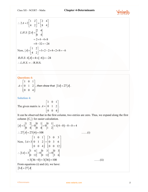 NCERT Solutions for Class 12 Maths Chapter 4 Exercise 4 5
