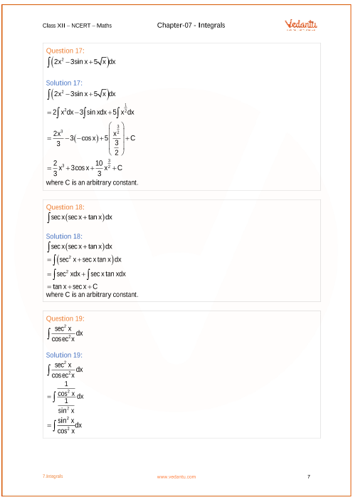 NCERT Solutions for Class 12 Maths Chapter 7 Integrals (Ex