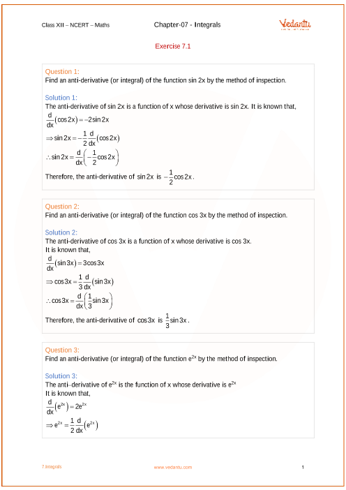NCERT Solutions for Class 12 Maths Chapter 7 Integrals (Ex