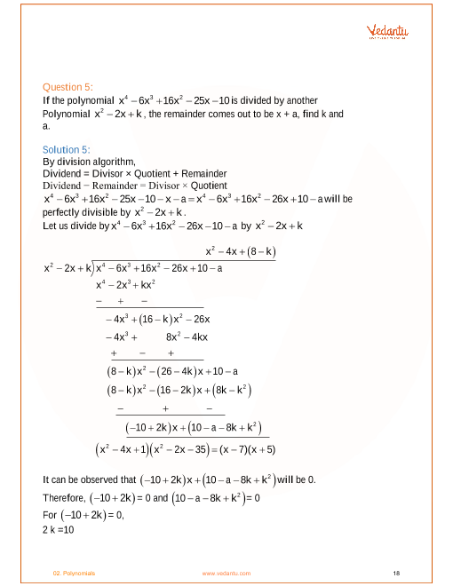NCERT Solutions for Class 10 Maths Chapter 2 Polynomials (Ex 2 2