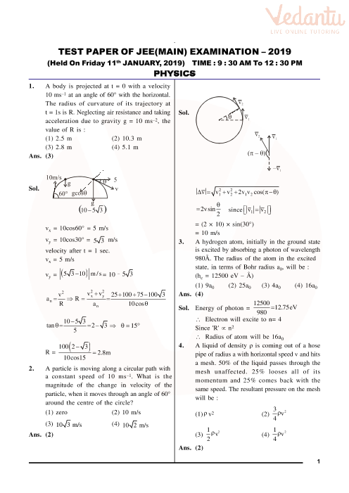 JEE Main 2019 Question Paper with Solutions (11th January - Morning)