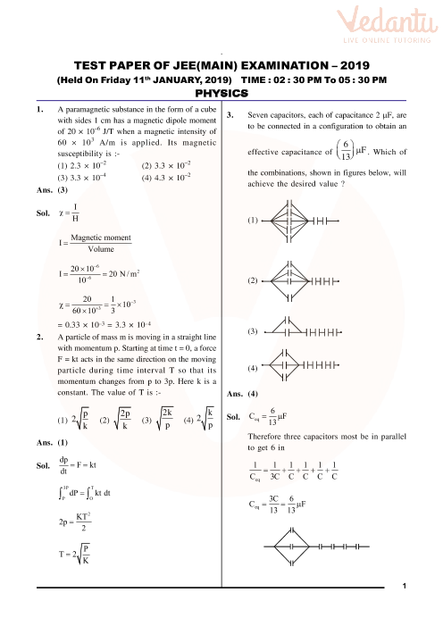 JEE Main 2019 Question Paper with Solutions (11th January - Evening)