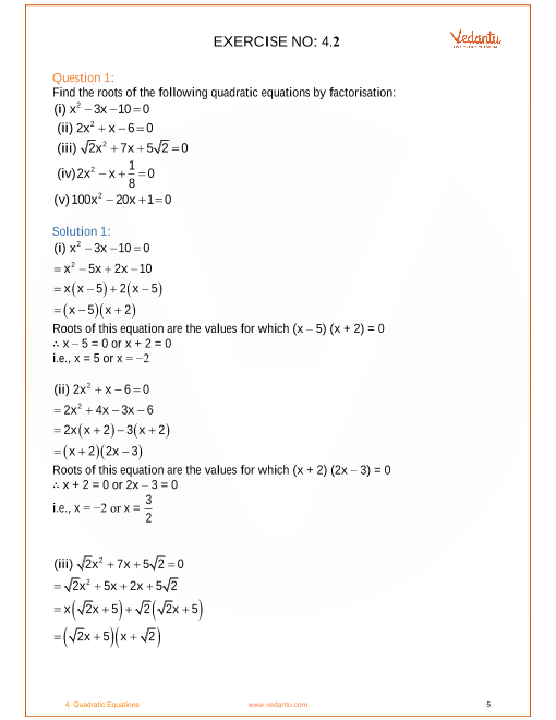 NCERT Solutions for Class 10 Maths Chapter 4 Quadratic Equations (Ex